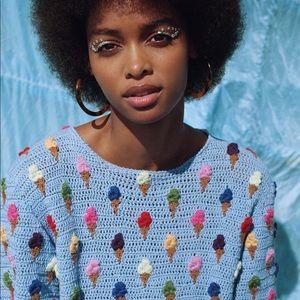 🍨ICE CREAM🍦3d textured Knit Short Sleeve Sweater